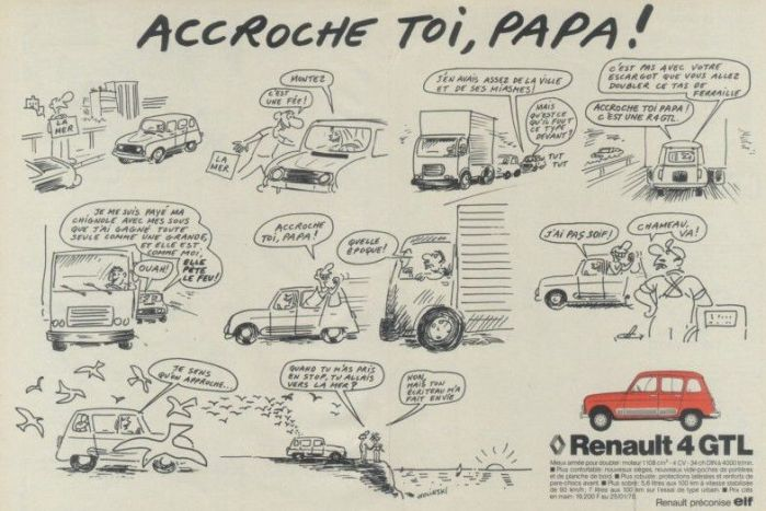 Publicité Renault 4 GTL de Wolinski